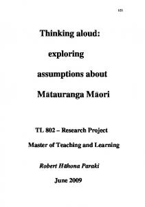 Thinking aloud: exploring. assumptions about