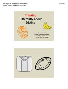 Thinking Differently about Dieting