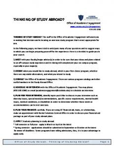 THINKING OF STUDY ABROAD?