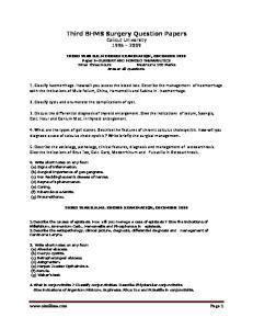 Third BHMS Surgery Question Papers Calicut University