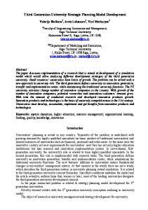 Third Generation University Strategic Planning Model Development