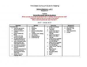Third Grade Curriculum Guide for Reading