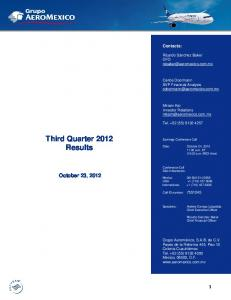 Third Quarter 2012 Results