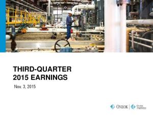 THIRD-QUARTER 2015 EARNINGS. Nov. 3, 2015