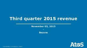 Third quarter 2015 revenue. November 03, Bezons