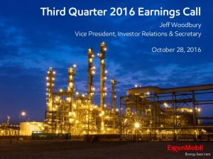 Third Quarter 2016 Earnings Call