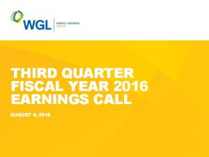 THIRD QUARTER FISCAL YEAR 2016 EARNINGS CALL AUGUST 4, 2016