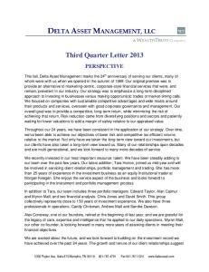 Third Quarter Letter 2013