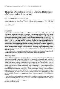 Thirst in Diabetes Insipidus: Clinical Relevance of Quantitative Assessment
