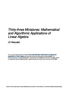 Thirty-three Miniatures: Mathematical and Algorithmic Applications of Linear Algebra