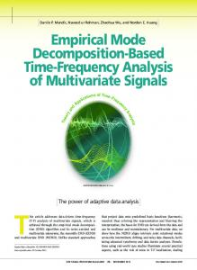 This article addresses data-driven time-frequency. Empirical Mode Decomposition-Based Time-Frequency Analysis of Multivariate Signals