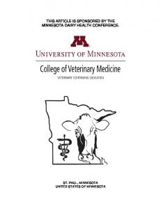 THIS ARTICLE IS SPONSORED BY THE MINNESOTA DAIRY HEALTH CONFERENCE