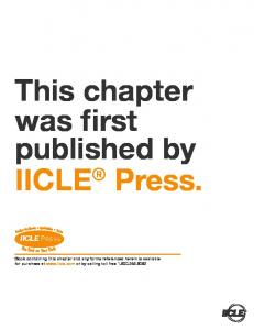 This chapter was first published by IICLE Press