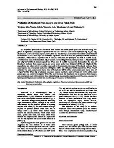 This is a refereed journal and all articles are professionally screened and reviewed. Production of Bioethanol From Cassava and Sweet Potato Peels