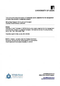 This is an author produced version of Community nurses' judgement for the management of venous leg ulceration: A judgement analysis