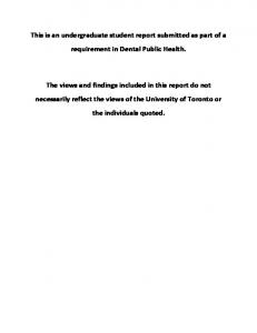 This is an undergraduate student report submitted as part of a requirement in Dental Public Health