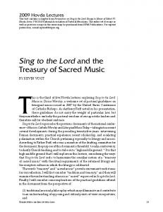 This is the third of five Hovda lectures exploring Sing to the Lord: