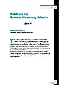 This section comprises eight units of informal mathematical activities