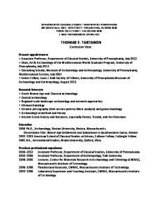 THOMAS F. TARTARON Curriculum Vitae