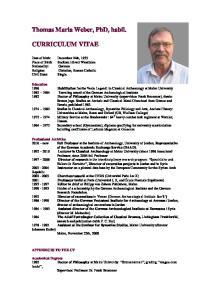 Thomas Maria Weber, PhD, habil. CURRICULUM VITAE