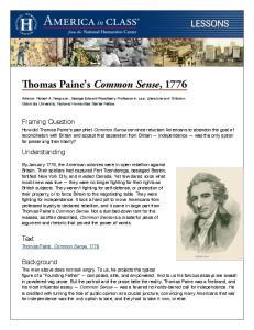 Thomas Paine s Common Sense, 1776