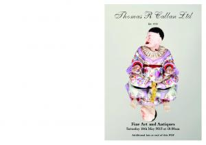 Thomas R Callan Ltd. Fine Art and Antiques Saturday 19th May 2012 at 10.00am. Additional lots at end of this PDF. Est. 1933