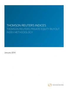 THOMSON REUTERS INDICES THOMSON REUTERS PRIVATE EQUITY BUYOUT INDEX METHODOLOGY