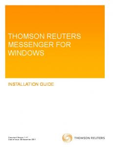 THOMSON REUTERS MESSENGER FOR WINDOWS INSTALLATION GUIDE
