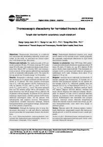 Thoracoscopic discectomy for herniated thoracic discs