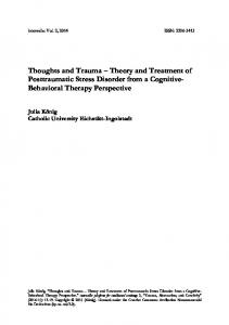 Thoughts and Trauma Theory and Treatment of Posttraumatic Stress Disorder from a Cognitive- Behavioral Therapy Perspective