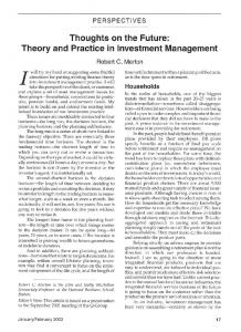 Thoughts on the Future: Theory and Practice in Investment ivianagement
