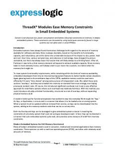 ThreadX Modules Ease Memory Constraints. in Small Embedded Systems