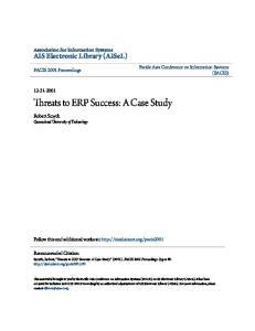 Threats to ERP Success: A Case Study