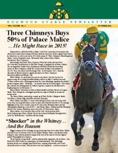 Three Chimneys Buys 50% of Palace Malice