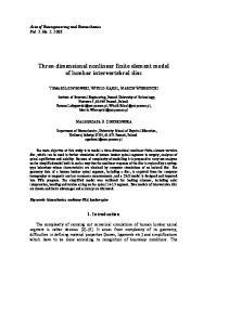 Three-dimensional nonlinear finite element model of lumbar intervertebral disc