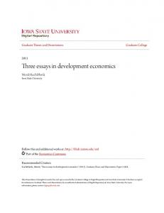Three essays in development economics