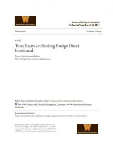 Three Essays on Banking Foreign Direct Investment