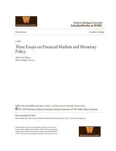Three Essays on Financial Markets and Monetary Policy