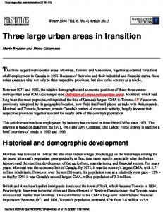 Three large urban areas in transition