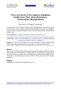 Three new species of the subgenus Leipopleura Seidlitz from Tibet, China (Coleoptera, Tenebrionidae, Bioramix Bates)