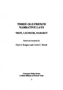 THREE OLD FRENCH NARRATIVE LAYS