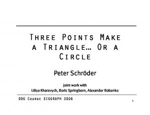 Three Points Make a Triangle Or a Circle