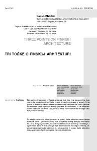 THREE POINTS ON FINNISH ARCHITECTURE
