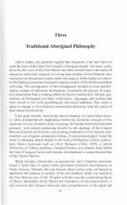 Three. Traditional Aboriginal Philosophy
