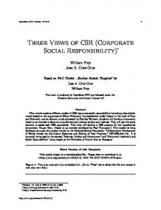 Three Views of CSR (Corporate Social Responsibility)