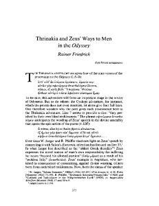 Thrinakia and Zeus' Ways to Men in the Odyssey