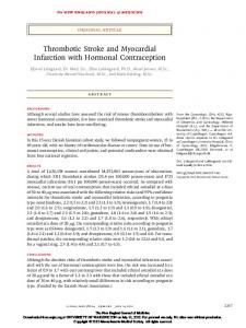 Thrombotic Stroke and Myocardial Infarction with Hormonal Contraception