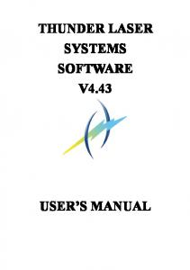 THUNDER LASER SYSTEMS SOFTWARE V4.43