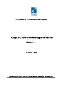 Thuraya SO-2510 Software Upgrade Manual