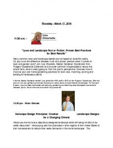 Thursday - March 17, Lawn and Landscape Fact or Fiction: Proven Best Practices for Best Results